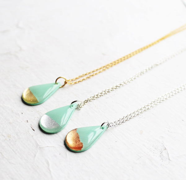 dainty vinyl record drop necklace in mint green / pick your tone