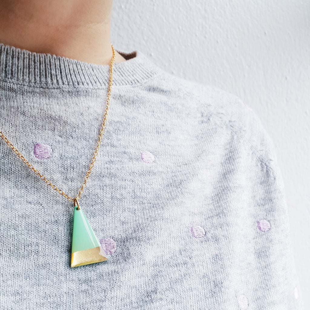 Geometric minimal triangle vinyl record necklace