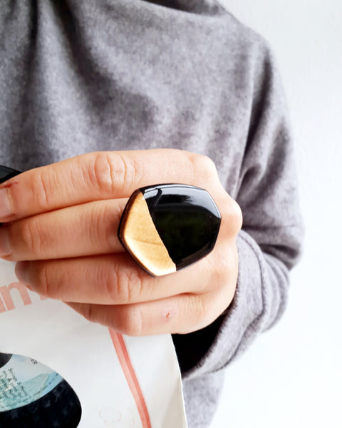 Big Statement handmade ring in black and copper / vinyl record jewelry