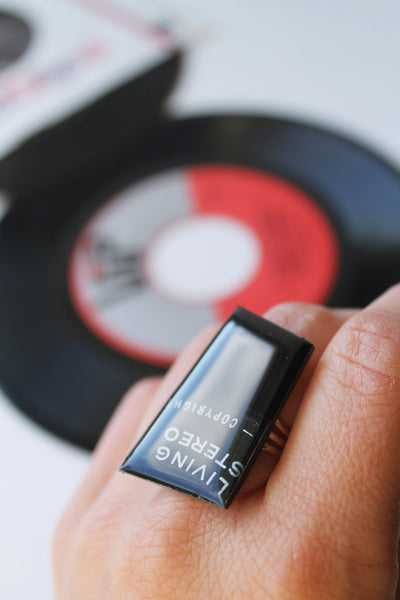 geometric black vinyl record ring