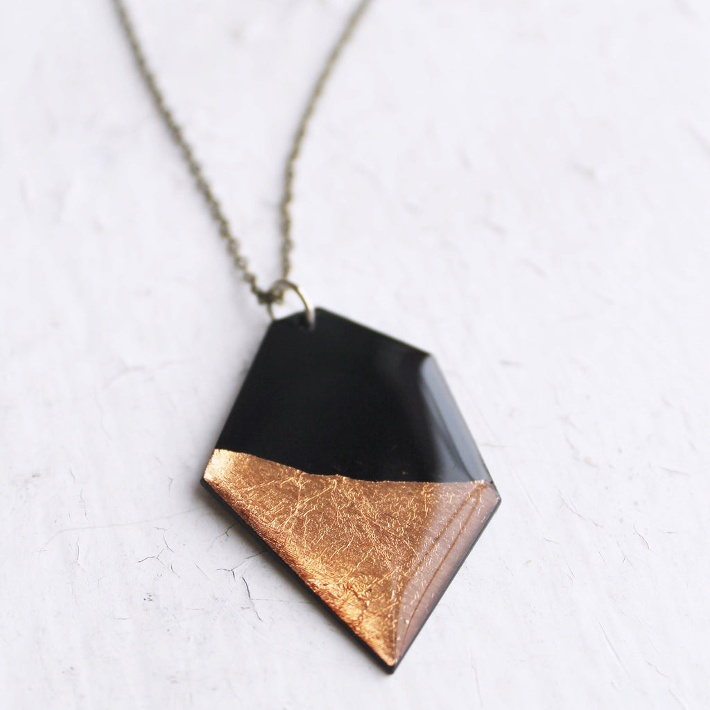 Geometric black and copper nugget vinyl record necklace