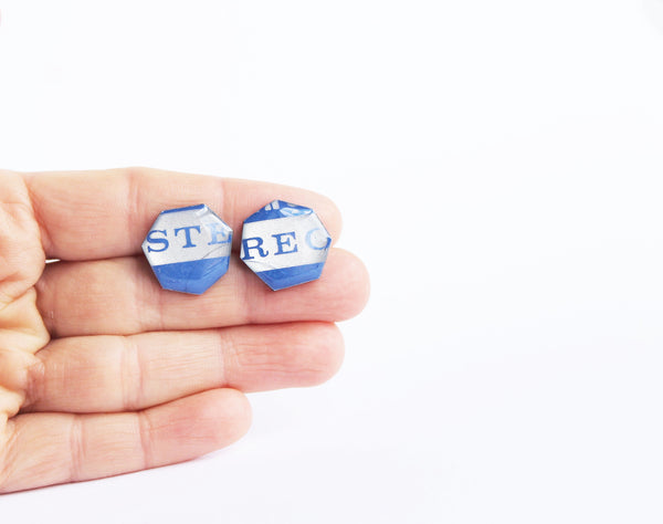 Eco-friendly stud earrings in blue
