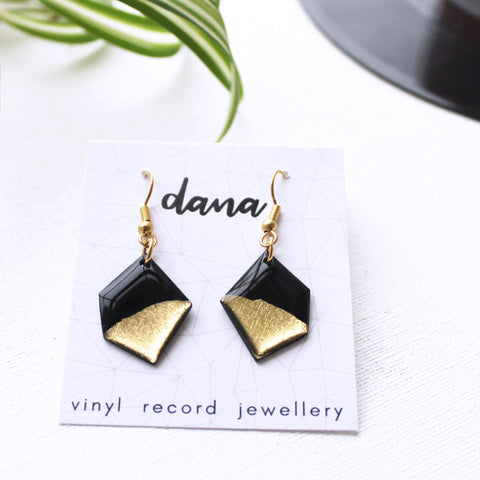 Minimalist recycled vinyl record dangle earrings in black and gold