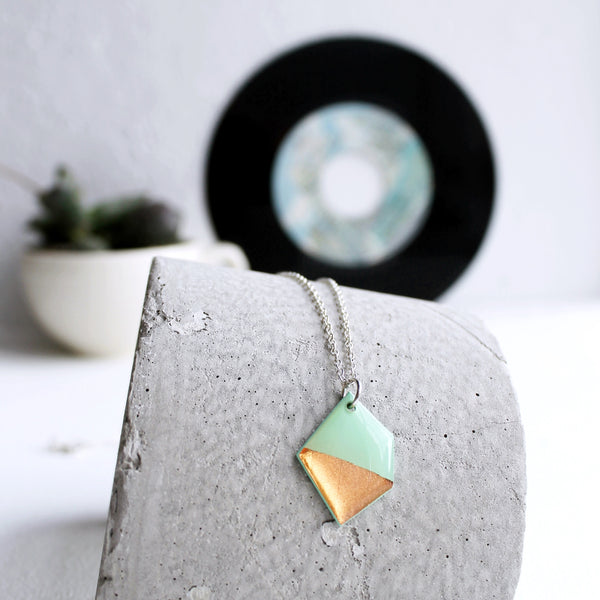 Copper dipped mint green modern vinyl record necklace