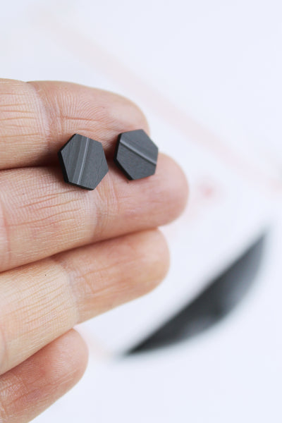 simple flat black hexagon studs / upcycled vinyl record jewelry