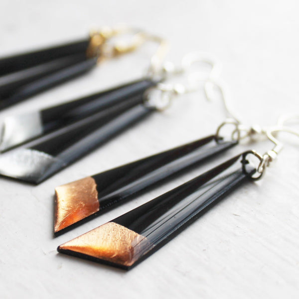 Minimalist vinyl record earrings / vinyl record jewelry