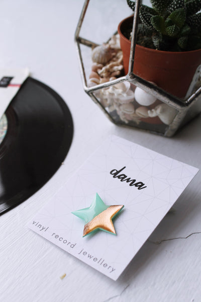 copper dipped mint green star pin badge / vinyl record jewelry