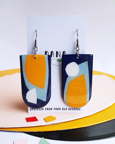 *new* abstract mixed media art earrings in blue and yellow / upcycled vinyl record