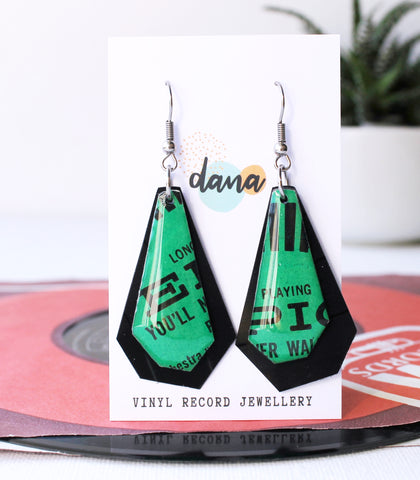 EPIC upcycled vinyl record geometric earrings in green