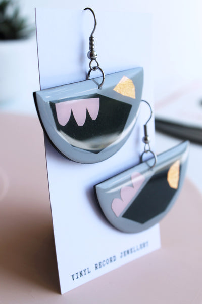 *new* Quirky one of a kind sustainable earrings handmade from recycled vinyl record