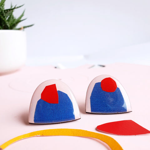 With a cherry on top -abstract upcycled mixed media stud earrings - ethical fashion