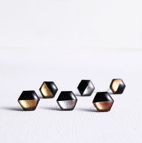 Hexagon metallic vinyl record stud earrings in gold, silver or copper