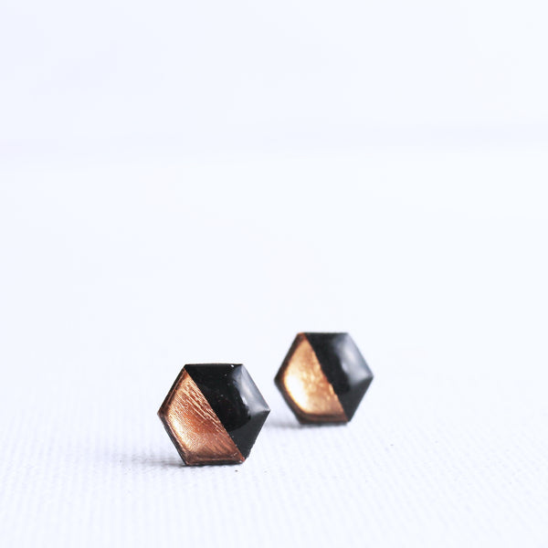 black and copper hexagon stud earrings handmade from recycled vinyl record