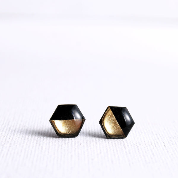 black and gold hexagon stud earrings handmade from recycled vinyl record