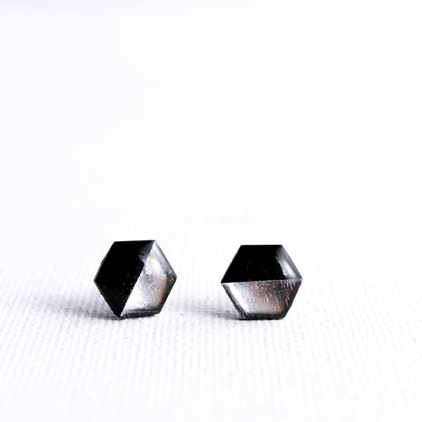 black and silver hexagon stud earrings handmade from recycled vinyl record
