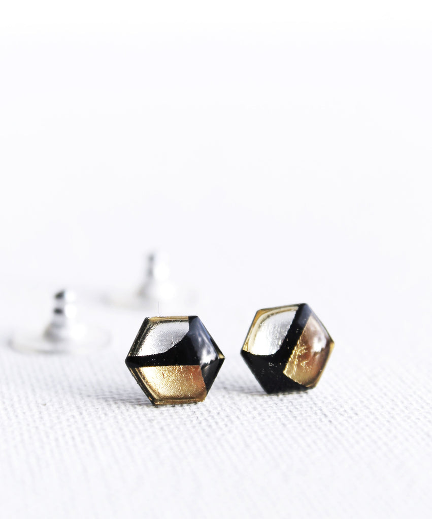 *new* mixed metallics casual chic yet upcycled hexagon studs  / vinyl record jewelry