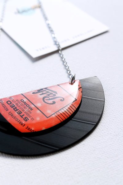 Bold one of a kind semicircle vinyl record necklace