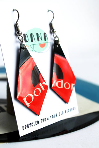 POLYDOR recycled vinyl record earrings / zero waste fashion