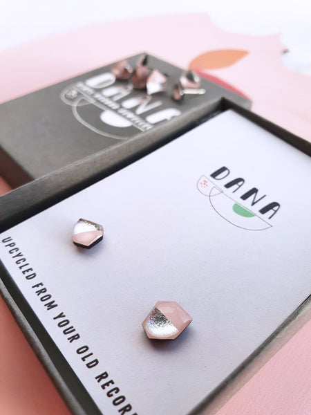 'SURPRISE ME' studs in blush pink and silver - mini mismatched