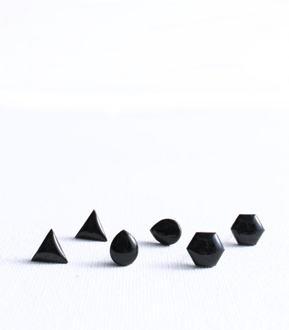 simple black stud earrings handmade from recycled vinyl record