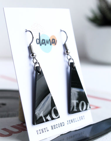 *NEW Victor RCA minimalist recycled black triangle earrings