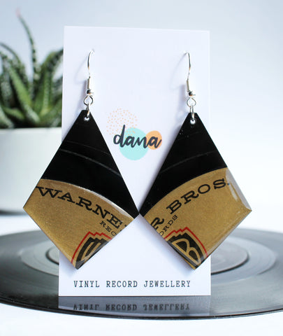 *NEW Bronze Warner Bros upcycled vinyl record earrings