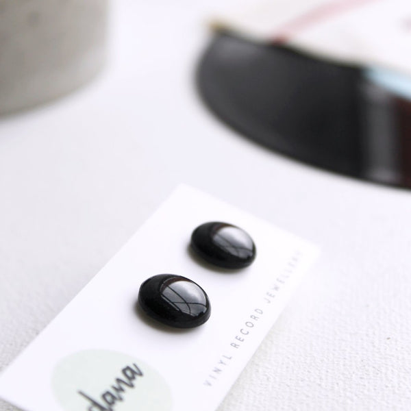 12mm black resin upcycled vinyl record post earrings