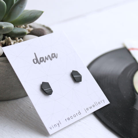 Black geometric unisex flat post earrings made from vinyl record