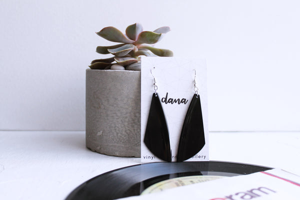 Eco-friendly black modern vinyl record earrings