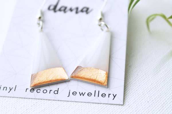 Copper dipped white minimalist triangle dangle earrings
