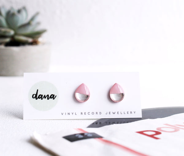Modern pink and silver teardrop stud earrings / handmade from vinyl record