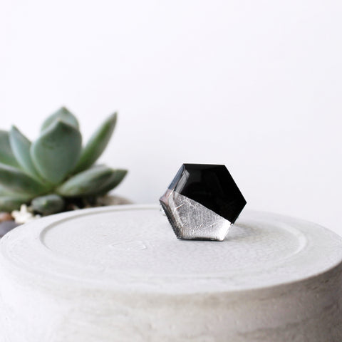 hexagon ring in black and silver / vinyl record jewelry