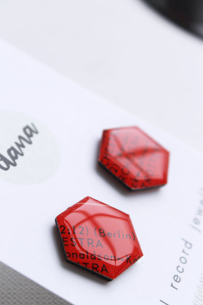 Bold red geometric hexagon stud earrings / vinyl record jewelry