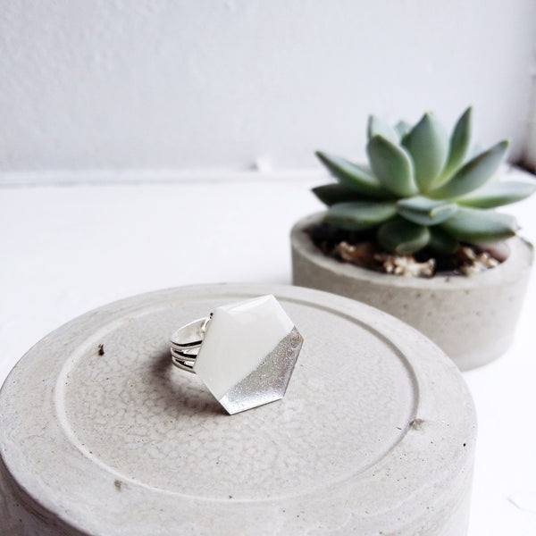 Everyday minimal geometric white and silver hexagon ring