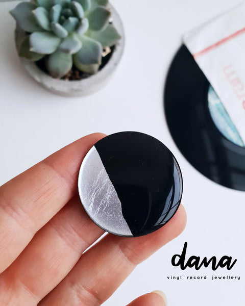 Elegant handmade black and silver adjustable vinyl record ring