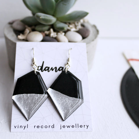 Eco-friendly dangle earrings in black and silver / vinyl jewelry