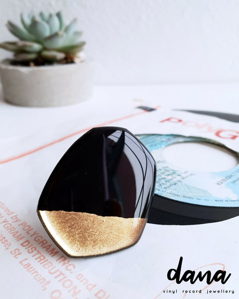 Recycled vinyl record ring in black and gold by Dana Jewellery