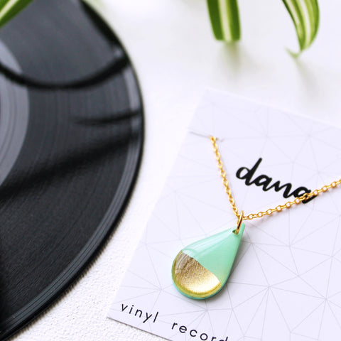 mint green and gold dainty vinyl record drop necklace