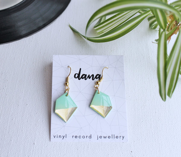 Gold and mint geometric vinyl record earrings