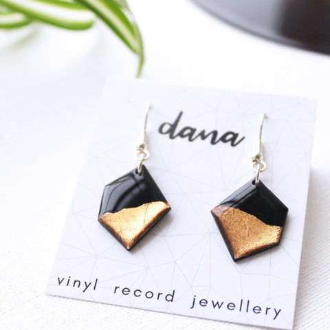 Eco-friendly geometric black and copper vinyl record dangle earrings