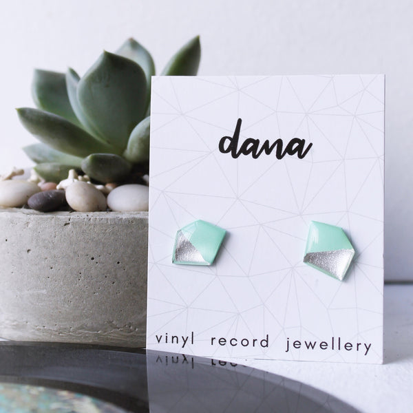 Geometric vinyl record stud earrings in mint and silver