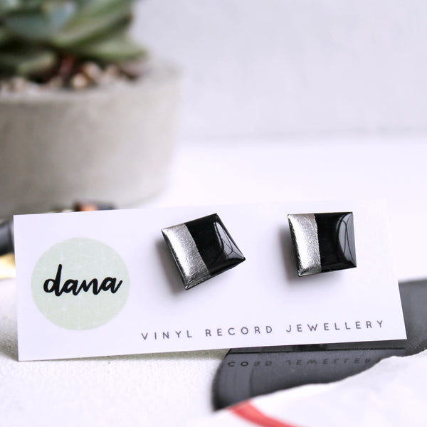 Eco-friendly upcycled cufflinks in black and silver / vinyl record jewelry
