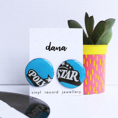 Blue funky eco-friendly vinyl record stud earrings