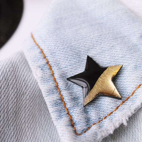Black and gold star pin badge / vinyl record jewelry