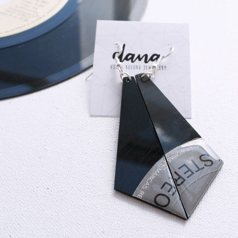 Geometric long statement vinyl record dangle earrings