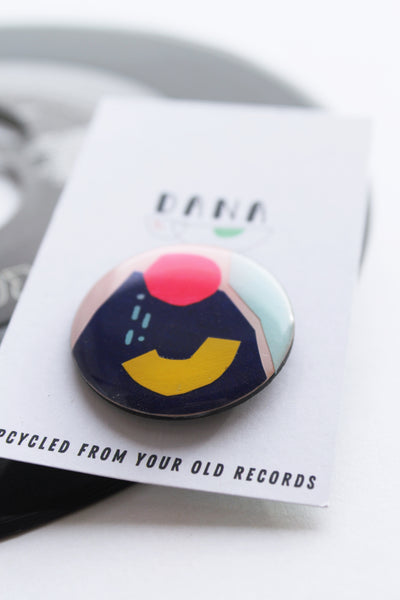 Geo brooch no. 02 / analogue collage art pin upcycled from your old records / one of  / slow fashion