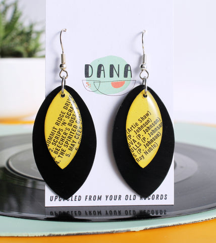 """SCRIPS 'N' SCRAPS"" unique vinyl record dangle earrings"