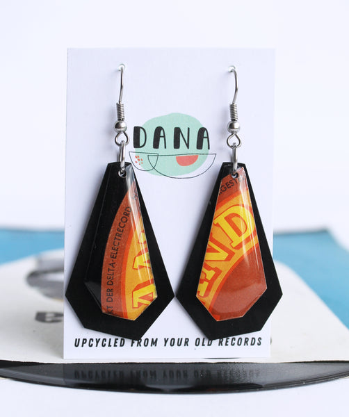ELECTRECORD very retro in brown and orange vinyl record earrings