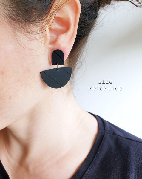*new* black semicircle recycled vinyl record earrings / ethical fashion