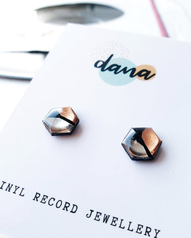 *new* copper & silver upcycled hexagon studs / vinyl record jewelry